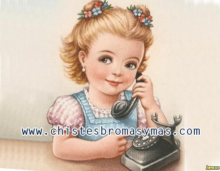 Una niña responde al teléfono:    ¿ayoo? Shiiiii??   Hola muñeca habla papá, ¿está mamá cerca del teléfono?  No amamita tá adiba en da cama con tío Dobeto.