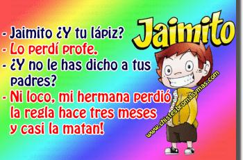 Jaimito y el lápiz perdido - Chistes cortos de Jaimito