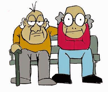 Ancianos cobrando pensiones.