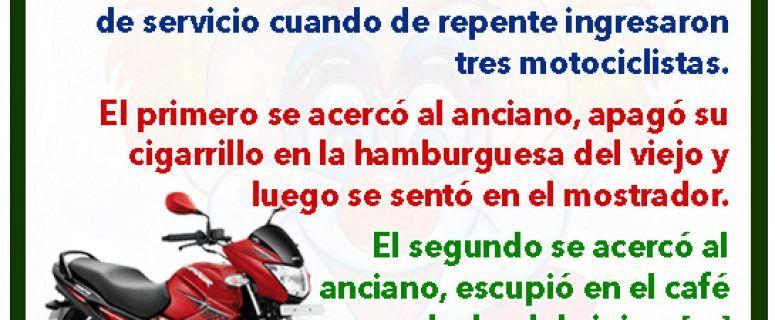 Tres motociclistas y un anciano - Chistes de hombres